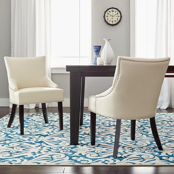Safavieh Loire Cream Leather Nailhead Dining Chairs (Set of 2)
