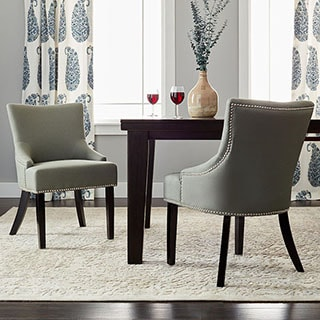 Safavieh En Vogue Dining Loire Grey Linen Nailhead Side Chairs (Set of 2)