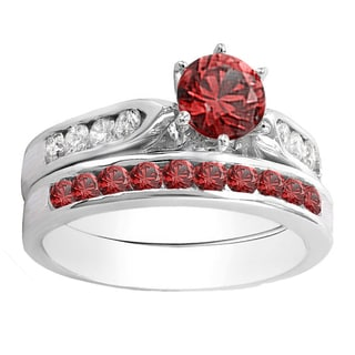 14k gold 1ct tgw round cut ruby and white diamond accent engagement ring set - Ruby Wedding Rings