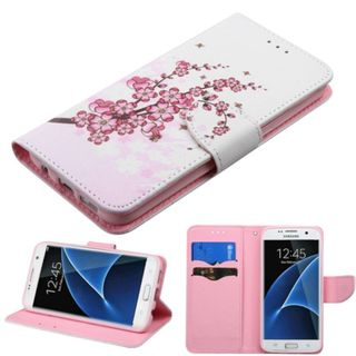 Insten Pink/ White Spring Flowers Leather Case Cover with Stand/ Wallet Flap Pouch For Samsung Galaxy S7 Edge