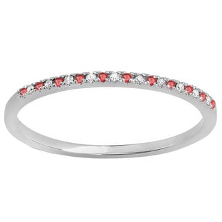 10k White Gold 1/10ct TGW Round Ruby and White Diamond Wedding Ring