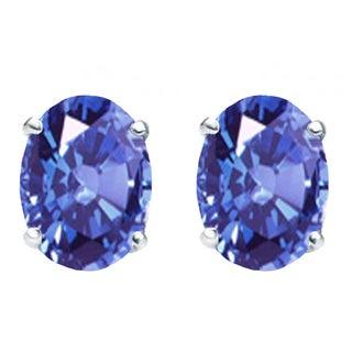Sterling Silver 1ct TGW Oval-cut Tanzanite Solitaire Stud Earrings