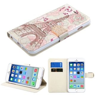 Insten Pink/ White Eiffel Tower Leather Case Cover with Stand/ Wallet Flap Pouch/ Diamond For Apple iPhone 6/ 6s