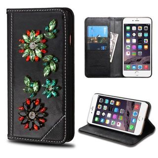 Insten Black/ Red 3D Flowers Leather Case Cover with Stand/ Wallet Flap Pouch/ Diamond For Apple iPhone 6 Plus/ 6s Plus