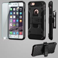 Insten Black Kinetic Hard Snap-on Dual Layer Hybrid Case Cover with Holster/ Screen Protector For Apple iPhone 6 Plus/ 6s Plus