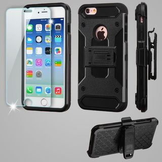 Insten Black Kinetic Hard Snap-on Dual Layer Hybrid Case Cover with Holster/ Screen Protector For Apple iPhone 6/ 6s