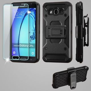 Insten Black Kinetic Hard Snap-on Dual Layer Hybrid Case Cover with Holster/ Screen Protector For Samsung Galaxy On5