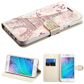 Insten Pink Eiffel Tower Leather Case Cover with Stand/ Wallet Flap Pouch/ Diamond For Samsung Galaxy J7 (2015)