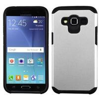 Insten Silver/ Black Hard PC/ Silicone Dual Layer Hybrid Rubberized Matte Case Cover For Samsung Galaxy J2 (2016)