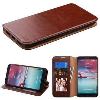 Insten Brown Leather Case Cover with Stand/ Wallet Flap Pouch/ Photo Display For ZTE Zmax Pro