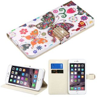 Insten Colorful Butterfly Wonderland Leather Case Cover with Stand/ Wallet Flap Pouch/ Diamond For Apple iPhone 6 Plus/ 6s Plus