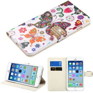 Insten Colorful Butterfly Wonderland Leather Case Cover with Stand/ Wallet Flap Pouch/ Diamond For Apple iPhone 6/ 6s