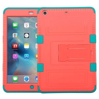 Insten Red/ Teal Tuff Hard PC/ Silicone Dual Layer Hybrid Rubberized Matte Case Cover For Apple iPad Mini 2
