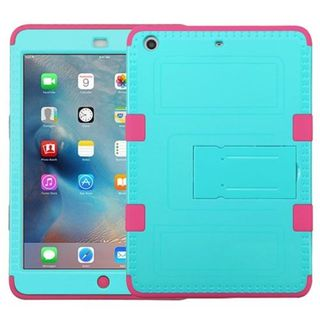 Insten Teal/ Pink Tuff Hard PC/ Silicone Dual Layer Hybrid Rubberized Matte Case Cover For Apple iPad Mini 2