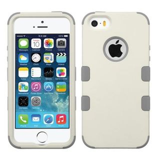 Insten White/ Gray Tuff Hard PC/ Silicone Dual Layer Hybrid Rubberized Matte Case Cover For Apple iPhone 5/ 5S/ SE