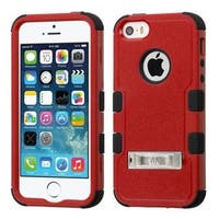 Insten Red/ Black Hard PC/ Silicone Dual Layer Hybrid Rubberized Matte Case Cover with Stand For Apple iPhone 5/ 5S/ SE