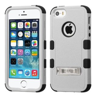 Insten Gray/ Black Hard PC/ Silicone Dual Layer Hybrid Rubberized Matte Case Cover with Stand For Apple iPhone 5/ 5S/ SE