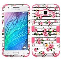 Insten Pink/ White Roses Tuff Hard PC/ Silicone Dual Layer Hybrid Rubberized Matte Case Cover For Samsung Galaxy J7 (2015)