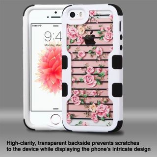 Insten Pink/ White Roses Hard PC/ Silicone Dual Layer Hybrid Rubberized Matte Case Cover For Apple iPhone 5/ 5S/ SE