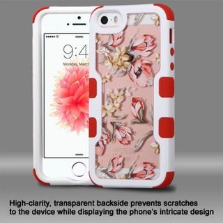 Insten Pink/ White Flowers Hard PC/ Silicone Dual Layer Hybrid Rubberized Matte Case Cover For Apple iPhone 5/ 5S/ SE