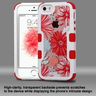 Insten Red/ White Spring Daisies Hard PC/ Silicone Dual Layer Hybrid Rubberized Matte Case Cover For Apple iPhone 5/ 5S/ SE