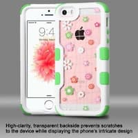 Insten Pink/ White Tiny Blossoms Hard PC/ Silicone Dual Layer Hybrid Rubberized Matte Case Cover For Apple iPhone 5/ 5S/ SE