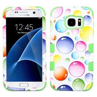 Insten Colorful Rainbow Bubbles Tuff Hard PC/ Silicone Dual Layer Hybrid Rubberized Matte Case Cover For Samsung Galaxy S7