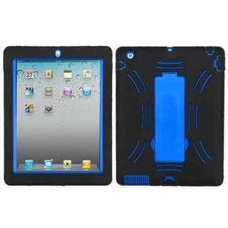 Insten Black/ Blue Symbiosis Soft Silicone/ PC Dual Layer Hybrid Rubber Case Cover with Stand For Apple iPad 2/ 3/ 4