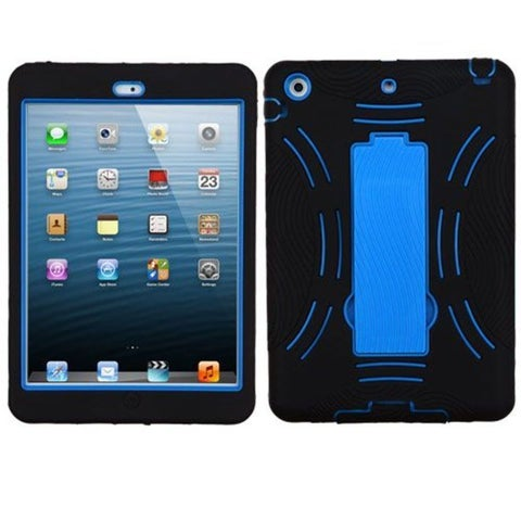 Insten Black/ Blue Symbiosis Soft Silicone/ PC Dual Layer Hybrid Rubber Case Cover with Stand For Apple iPad Mini 1