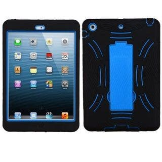 Insten Black/ Blue Symbiosis Soft Silicone/ PC Dual Layer Hybrid Rubber Case Cover with Stand For Apple iPad Mini 1|https://ak1.ostkcdn.com/images/products/14116883/P20722966.jpg?impolicy=medium