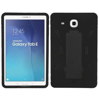 Insten Black Symbiosis Soft Silicone/ PC Dual Layer Hybrid Rubber Case Cover with Stand For Samsung Galaxy Tab E 9.6