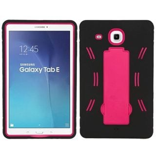 Insten Black/ Hot Pink Symbiosis Soft Silicone/ PC Dual Layer Hybrid Rubber Case Cover with Stand For Samsung Galaxy Tab E 9.6