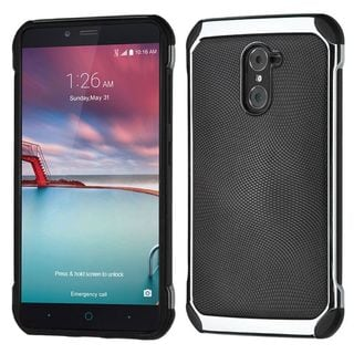 Insten Black/ Silver Leather TPU Dual Layer Hybrid Case Cover For ZTE Grand X Max 2/ Imperial Max/ Kirk/ Max Duo 4G