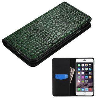 Insten Green Leather Crocodile Skin Case Cover with Wallet Flap Pouch For Apple iPhone 6 Plus/ 6s Plus