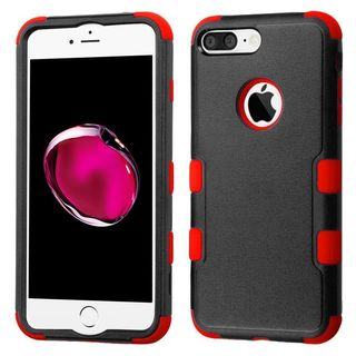 Insten Black/ Red Tuff Hard PC/ Silicone Dual Layer Hybrid Rubberized Matte Case Cover For Apple iPhone 7 Plus