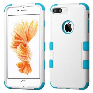 Insten White/ Blue Tuff Hard PC/ Silicone Dual Layer Hybrid Rubberized Matte Case Cover For Apple iPhone 7 Plus