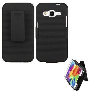 Insten Black Hard Snap-on Rubberized Matte Case Cover with Holster For Samsung Galaxy Core Prime