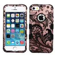 Insten Rose Gold/ Black Phoenix Flower Tuff Hard PC/ Silicone Dual Layer Hybrid Case Cover For Apple iPhone 5/ 5S/ SE