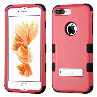 Insten Pink/ Black Hard PC/ Silicone Dual Layer Hybrid Rubberized Matte Case Cover with Stand For Apple iPhone 7 Plus
