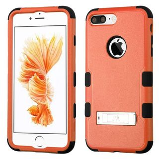 Insten Orange/ Black Hard PC/ Silicone Dual Layer Hybrid Rubberized Matte Case Cover with Stand For Apple iPhone 7 Plus