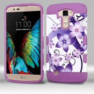 Insten Purple/ White Hibiscus Flower Romance Hard Snap-on Case Cover For LG K10/ Premier LTE
