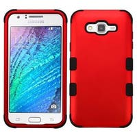 Insten Red/ Black Tuff Hard PC/ Silicone Dual Layer Hybrid Rubberized Matte Case Cover For Samsung Galaxy J7 (2015)