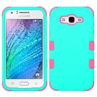 Insten Teal/ Pink Tuff Hard PC/ Silicone Dual Layer Hybrid Rubberized Matte Case Cover For Samsung Galaxy J7 (2015)