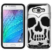 Insten Silver/ Black Skullcap Hard PC/ Silicone Dual Layer Hybrid Rubberized Matte Case Cover For Samsung Galaxy J7 (2015)
