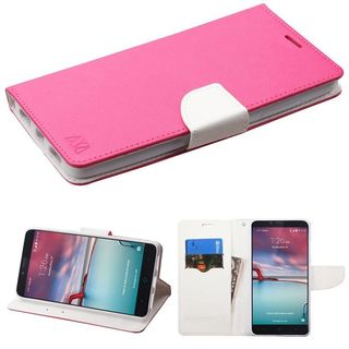 Insten Hot Pink/ White Leather Case Cover with Stand/ Wallet Flap Pouch For ZTE Zmax Pro