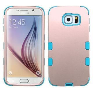 Insten Rose Gold/ Teal Tuff Hard PC/ Silicone Dual Layer Hybrid Rubberized Matte Case Cover For Samsung Galaxy S6