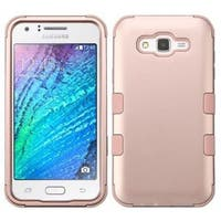 Insten Rose Gold Tuff Hard PC/ Silicone Dual Layer Hybrid Rubberized Matte Case Cover For Samsung Galaxy J7 (2015)