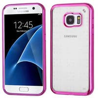 Insten Clear/ Hot Pink TPU Rubber Candy Skin Case Cover For Samsung Galaxy S7