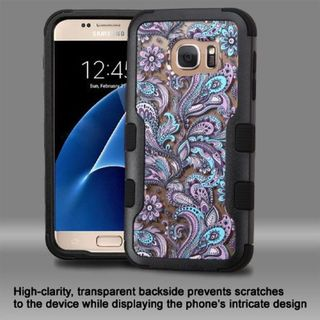 Insten Purple/ Black European Flowers Hard PC/ Silicone Dual Layer Hybrid Rubberized Matte Case Cover For Samsung Galaxy S7