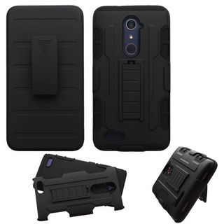 Insten Black Hard PC/ Silicone Dual Layer Hybrid Case Cover with Holster For ZTE Zmax Pro
